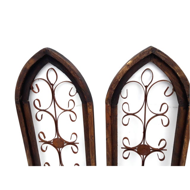 2000 - 2009 Pair Rustic Burnt Wood Shabby Garden Architectural Windows Shutters Cathedral Trellis For Sale - Image 5 of 6