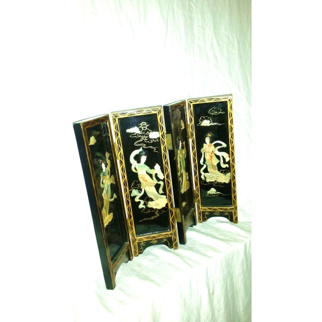 Chinese Courtesan Table Screen Black Lacquer - Image 3 of 9