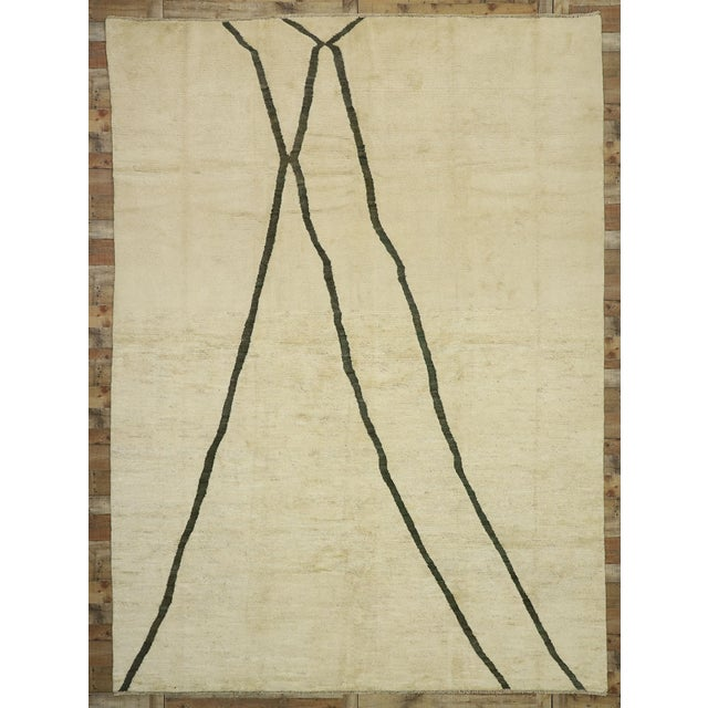 Beige 80523 Contemporary Moroccan Area Rug - 10'02 X 13'10 For Sale - Image 8 of 10