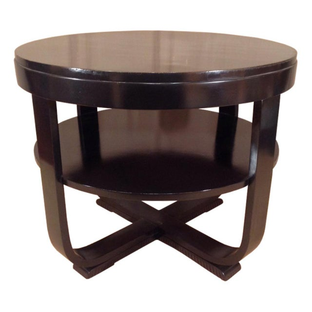 Lacquer Black Lacquered Round Art Deco Table For Sale - Image 7 of 7