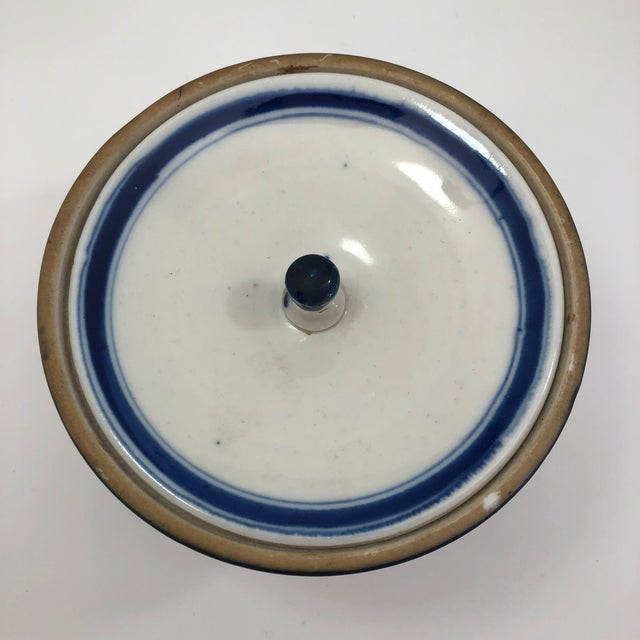 Ceramic Blue and White Lidded Porcelain Mizusashi With Handpainted Ginko Leaf Design For Sale - Image 7 of 13
