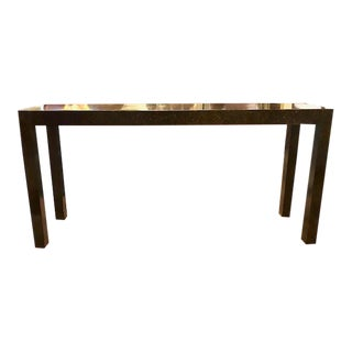 Mid Century Drexel Heritage Parson Console Table, Tortoise Speckle Finish For Sale