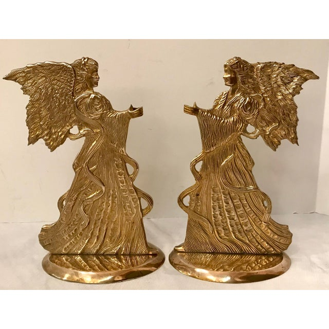 Vintage Brass Angel Candle Holders - a Pair For Sale In Dallas - Image 6 of 6