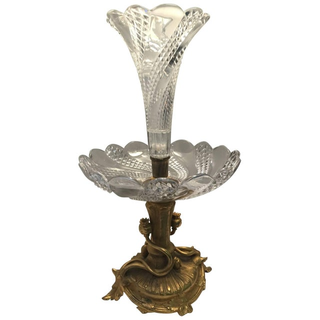Gold 19th Century Art Nouveau Baccarat and Ormolu Trumpet Centre Piece For Sale - Image 8 of 8