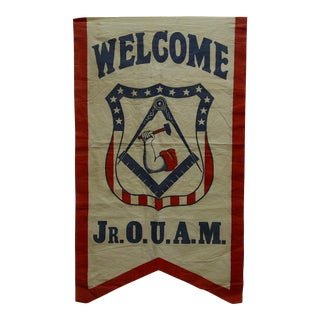 "Vintage 1930s ""Welcome Jr. O.U.A.M."" United American Mechanics Hanging Flag / Banner For Sale"