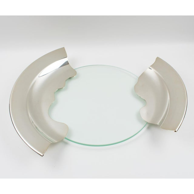1980s 1980s Futurist Silver Plate Glass Platter Bowl Centerpiece For Sale - Image 5 of 11