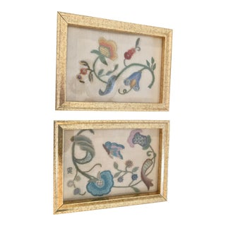Framed Vintage Hand Made Crewel Embroidered Images - a Pair For Sale