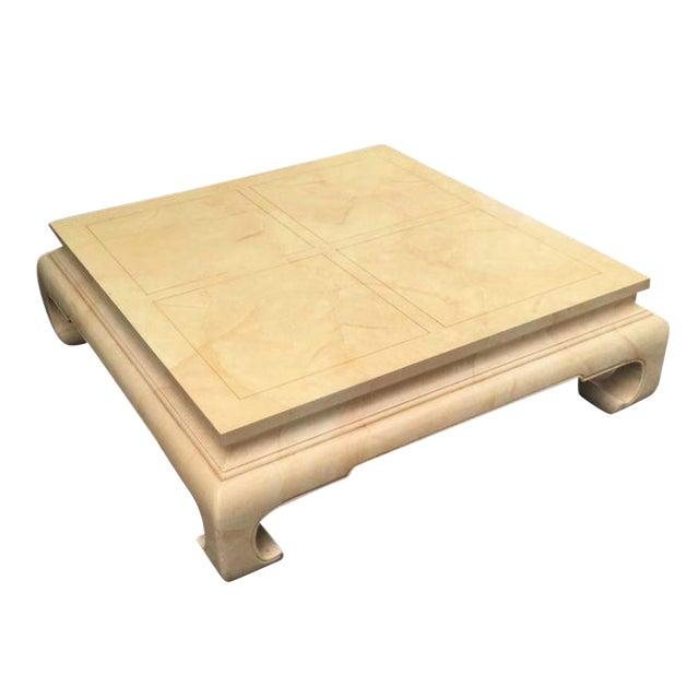 1970's Ming Henredon Goatskin Finish Coffee Table For Sale
