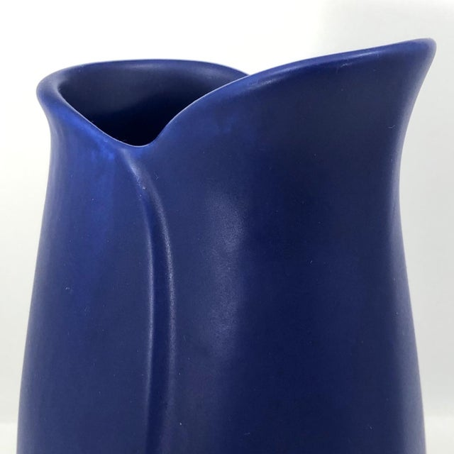 Matte Blue Glazed Art Pottery Vase With Sylized Lip For Sale - Image 9 of 13