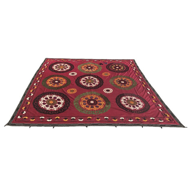 Red Handmade Suzani Tablecloth For Sale