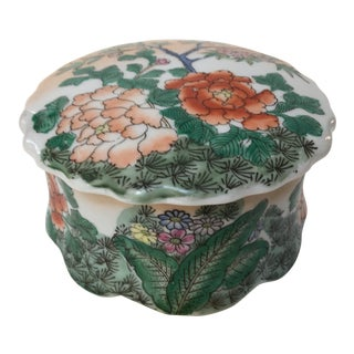Vintage Japanese Porcelain Lidded Floral Scalloped Box For Sale