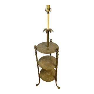 Round Tiered Bronze Floor Lamp For Sale