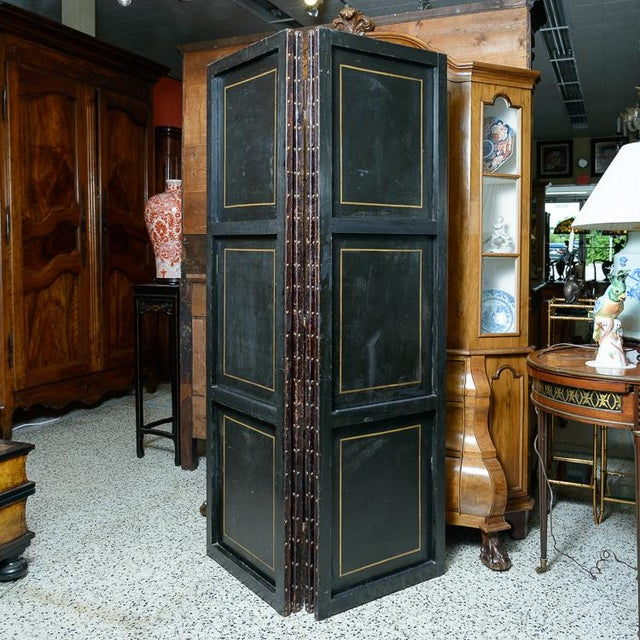 Anglo-Indian 19th Century Painted Leather Screen For Sale - Image 3 of 6