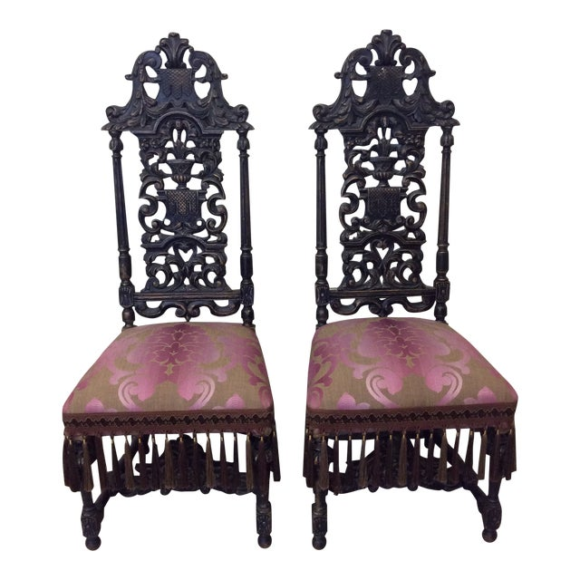 Carved Mahogany Jacobean Style High Back Chairs-A Pair For Sale