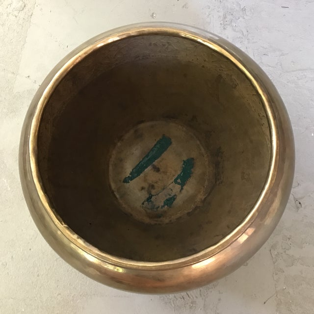 Boho Chic Embossed Brass Planter Pot For Sale - Image 3 of 4
