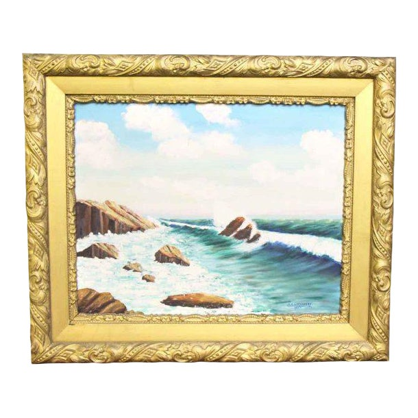 Signed Framed Oil Ocean Painting | Chairish