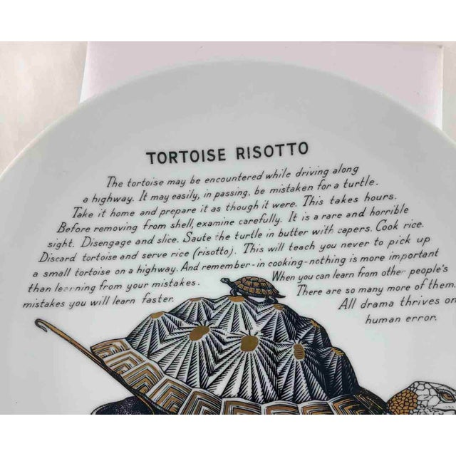Mid-Century Modern Piero Fornasetti 1960's Tortoise Risotto Improbable Recipe Plate for Fleming Joffe For Sale - Image 3 of 9