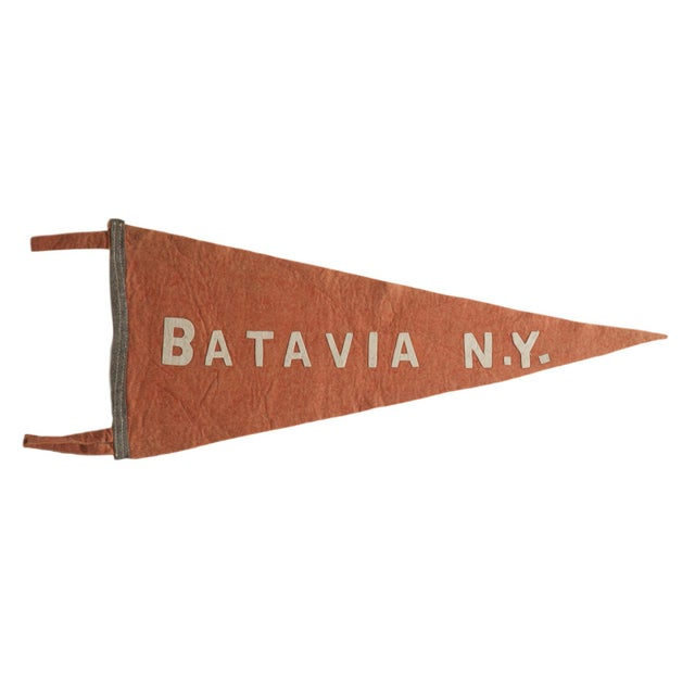 1920s Antique Batavia n.y. Felt Flag Pennant For Sale - Image 5 of 5