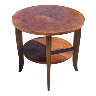 1940s Art Deco Exotic Walnut Gueridon Side Table For Sale