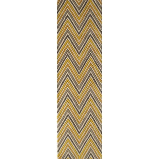"""Contemporary Momeni Delhi Hand Tufted Yellow Wool Runner - 2'3"""" X 8' For Sale"""