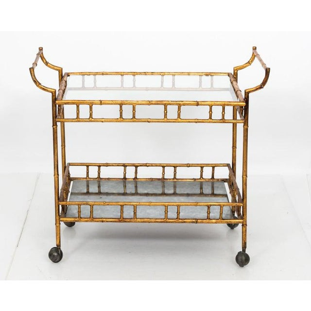 1950s Hollywood Regency Faux Bamboo Bar Cart For Sale - Image 4 of 8