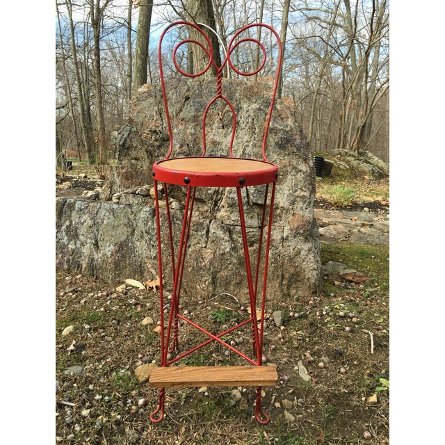 Vintage Red Iron Bar Stool - Image 2 of 6