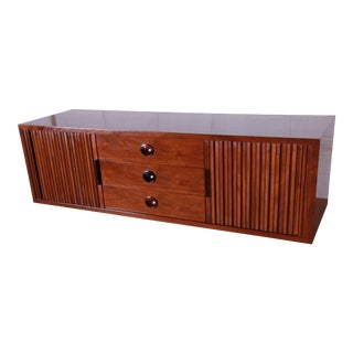 Edward Wormley for Dunbar Tambour Door Walnut Floating Wall-Hanging Credenza, 1950s For Sale
