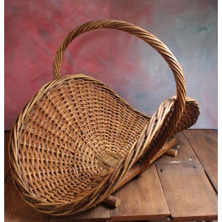 Antique French Wicker Gathering Basket Preview