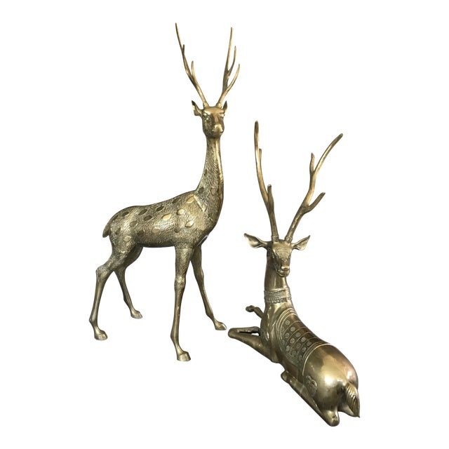 Life-Sized Brass Deer Statues - A Pair - Image 1 of 11