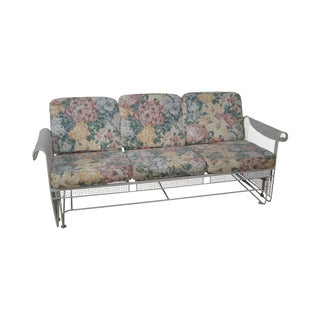 Vintage Woodard White Painted Patio Glider Sofa