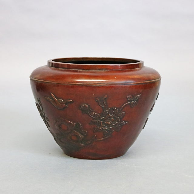 Early 20th Century Antique Japanese Embossed Bronze Jardinière with Garden Scene, circa 1920 For Sale - Image 5 of 11