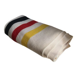 Large Vintage Wool Striped Blanket
