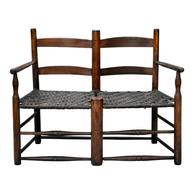 Antique American Hickory Primitive Settee For Sale
