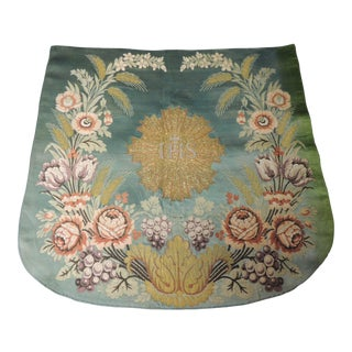 Antique Green and Gold Embroidery Brocade Cloth or Banner For Sale
