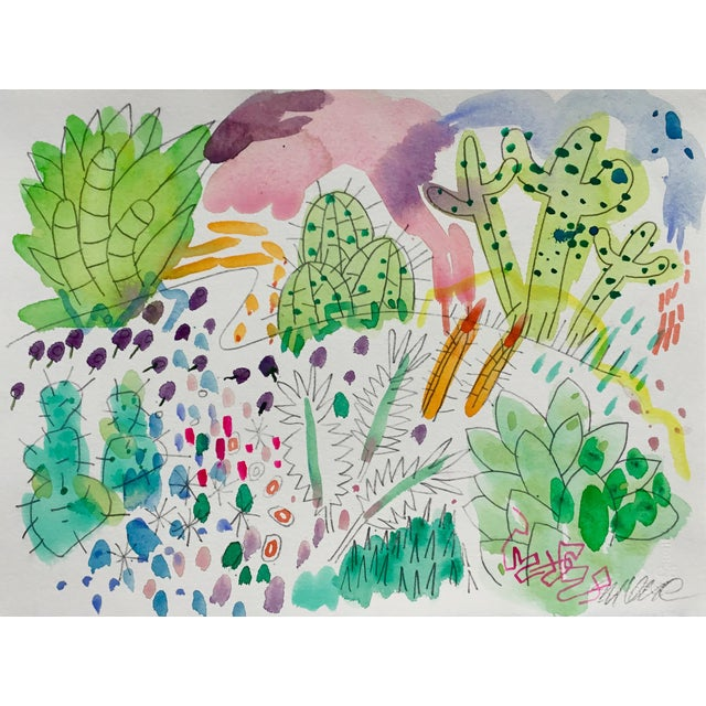 Steve Klinkel Cactus Garden Set of Three Watercolor Paintings For Sale - Image 4 of 5