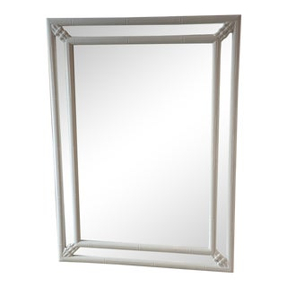Vintage Faux Bamboo White Lacquered Horizontal or Vertical Wall Mirror For Sale