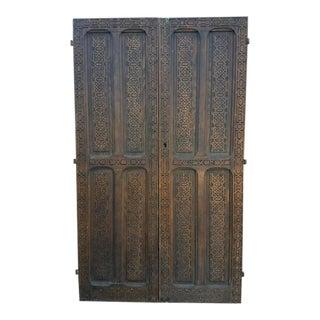 Moroccan Double Panel Carved Cedar Wood Door