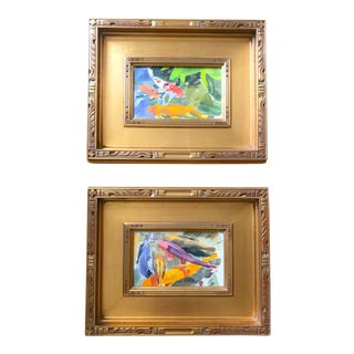 1990s Koi Gilded Wood Framed Watercolor Paintings - a Pair For Sale
