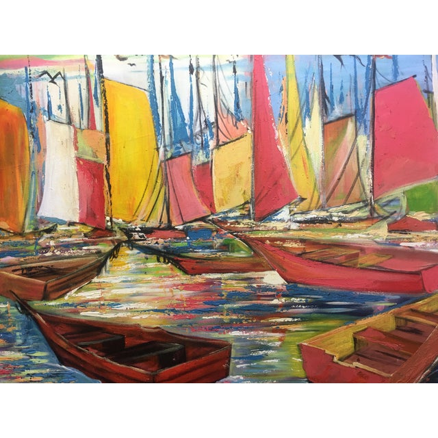Vividly hued, Original Joseph Friedrich Modern Fauvist rendering on Canvas of Sailboats in Port. Friederich's large...