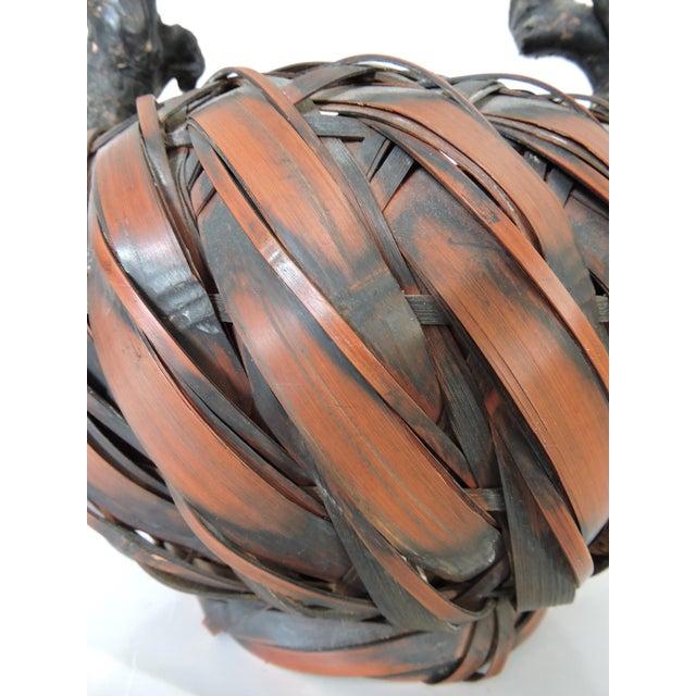 Gnarled Burl Wood and Split Bamboo Ikebana / Tea Ceremony Basket - Image 6 of 8