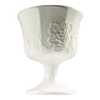 1950s Milk Glass Pedestal Urn / Planter For Sale
