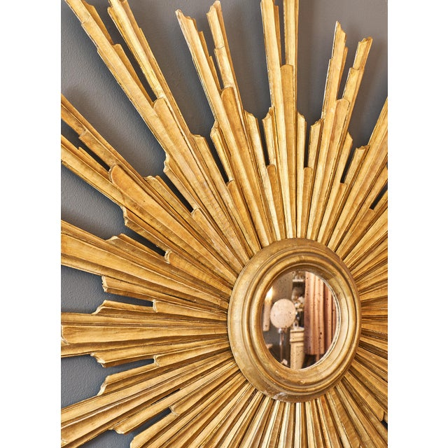 Italian Pair of Italian Antique Sunburst Mirrors For Sale - Image 3 of 10