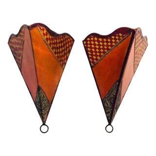 African Tribal Art Parchment Wall Shade Sconces in Safran and Tan Colors - a Pair For Sale