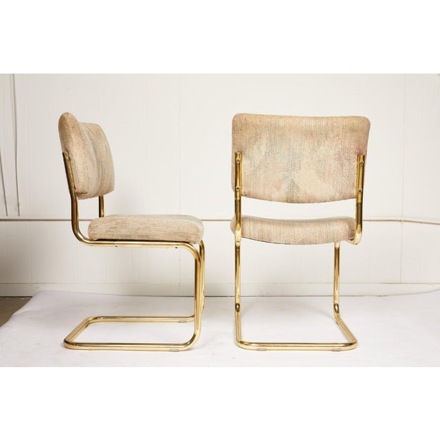 Chromcraft Pair of Brass Cantilever Chairs by Chromcraft For Sale - Image 4 of 6