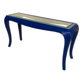 1970s Mid-Century Modern Blue Painted Rattan Console For Sale