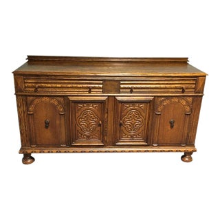 1920s Oak Jacobean Revival Buffet For Sale