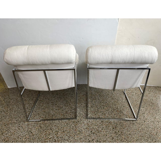 Metal Milo Baughman Thin Line Chairs in Polished Chrome - a Pair For Sale - Image 7 of 13