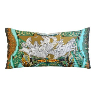 "French Hermes ""Le Paradis Du Roy"" Silk Feather/Down Pillow 34"" X 17"" For Sale"
