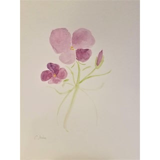 "Christine Frisbee ""Violet 1"" Original Botanical Watercolor Painting For Sale"