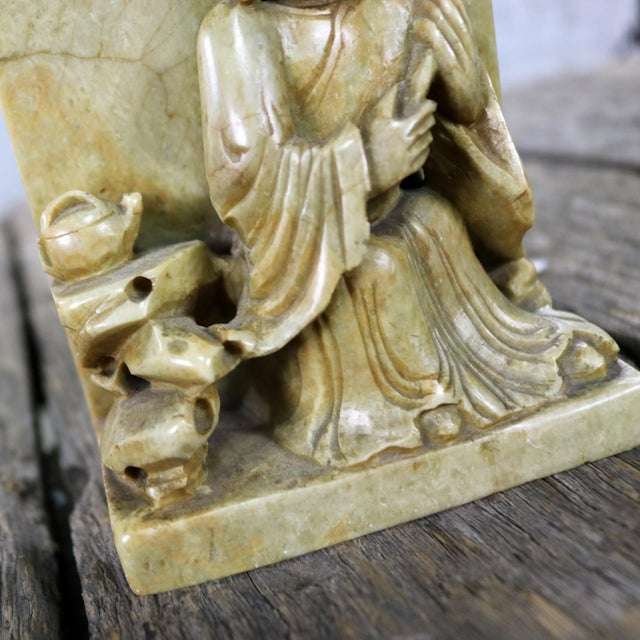 Antique Carved Soapstone Bookends With Chinese Figures and Teapot Detail For Sale - Image 12 of 13